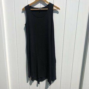 Eileen Fisher Dress Trapeze Black Rayon Lycra S